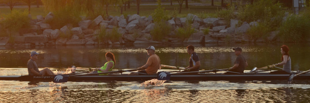 Rowing at sunset on the Saginaw River